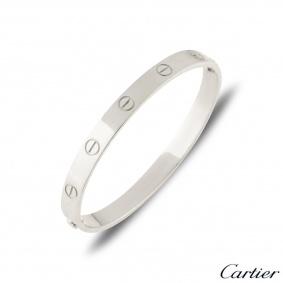 Cartier Platinum Plain Love Bracelet Size 18    B6035718